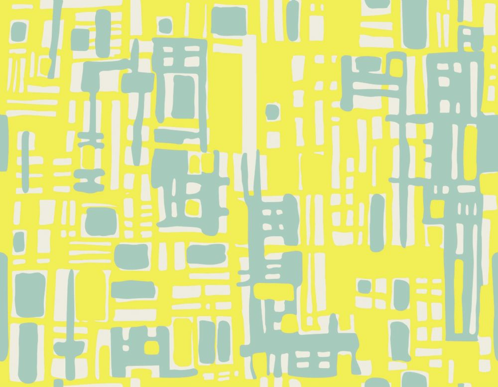 Hemingway Designs Light Blue on Yellow Texture Fabric - per quarter metre